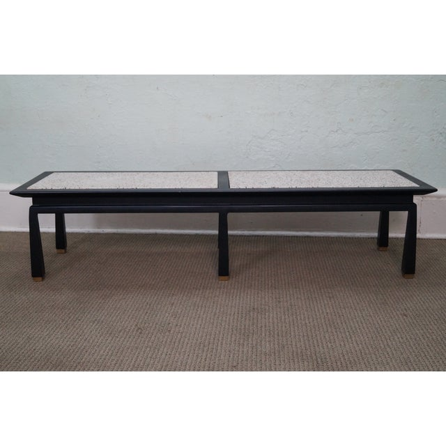 James Mont Mid Century Ebonized Marble Top Table - Image 2 of 10