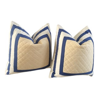 1990s Striped Quilted Pillows - A Pair For Sale