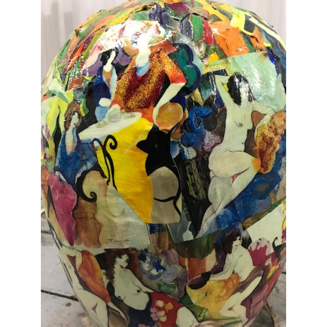 1970s Abstract Painted Nudes Collaged Lamp For Sale In Atlanta - Image 6 of 12