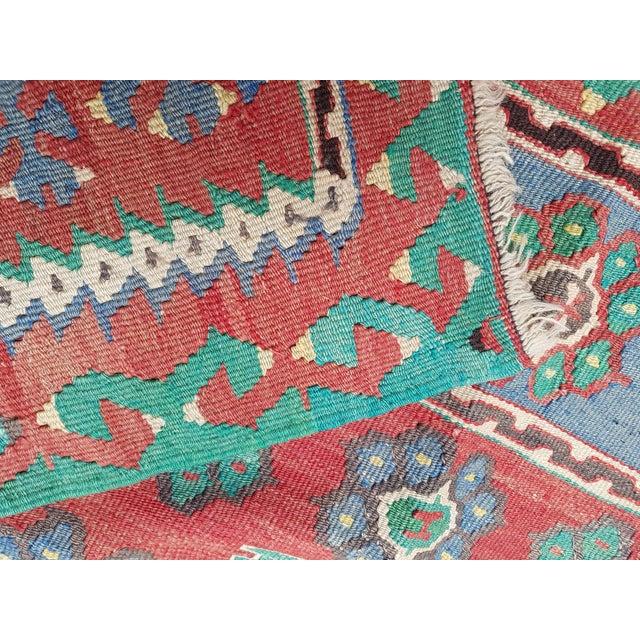 Vintage Blue and Red Turkish Kilim Rug 5'7'' X 7'3'' For Sale - Image 10 of 13