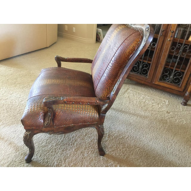 Traditional Embossed Leather Crocodile Pattern Accent Chair For Sale - Image 3 of 6