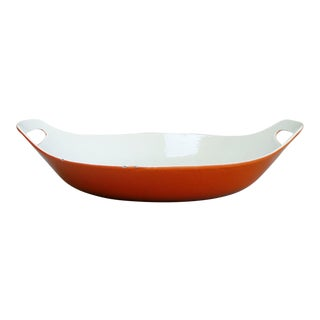 Large Copco Red Orange Enamel Paella Pan Michael Lax Mid Century Modern For Sale