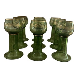 Vintage Green and Gold Italian Wine Goblets- Set of 9 For Sale
