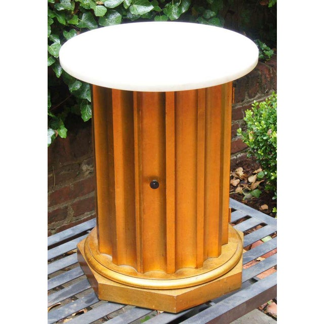 Brown Marble Column Side Table For Sale - Image 8 of 11