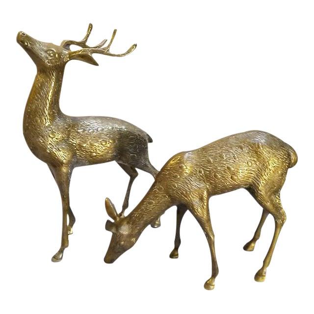 Large Vintage Brass Deers - A Pair - Image 1 of 6