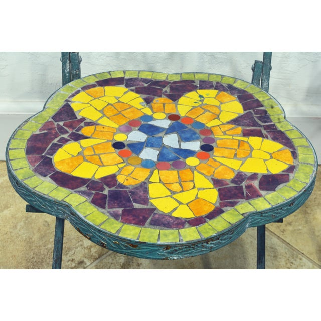 Unique Painted Iron and Inlaid Ceramic Mosaic Butterfly Chairs - a Pair For Sale - Image 4 of 13