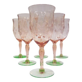 Green & Pink Etched Wine Glasses - Set of 6 For Sale