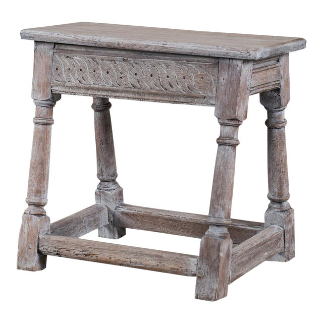 Antique English Limed Oak Joint Stool circa 1890 For Sale