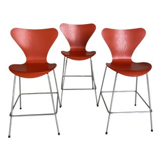 Arne Jacobsen Mid Century Bright Orange Bentwood Bar Stools - Set of 3 For Sale