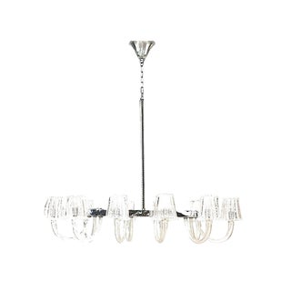 1940's Italian Murano Glass & Chrome Chandelier, Attrib. To Barovier E Toso For Sale