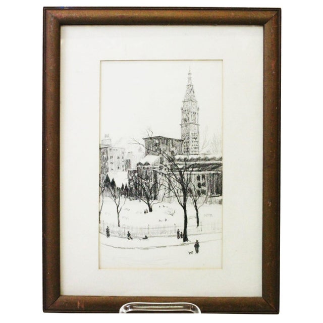 Etching 1970s Vintage Gramercy Park NYC Etching Print For Sale - Image 7 of 7