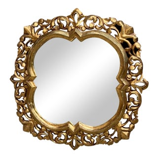 Antique Italian Carved Wood Gold Gilt Frame Wall Mirror For Sale