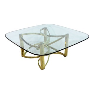 1970s Vintage Pace Brass & Glass Coffee Table For Sale