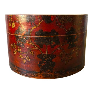Antique Red Lacquer Birds and Vine Decoration Chinese Box For Sale