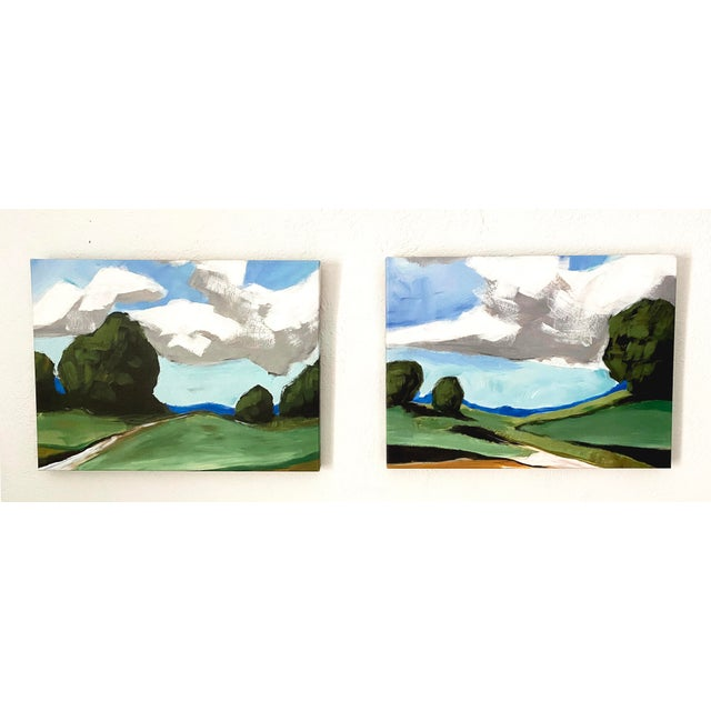Contemporary Summer Landscape Prints on Canvas - a Pair For Sale - Image 11 of 11