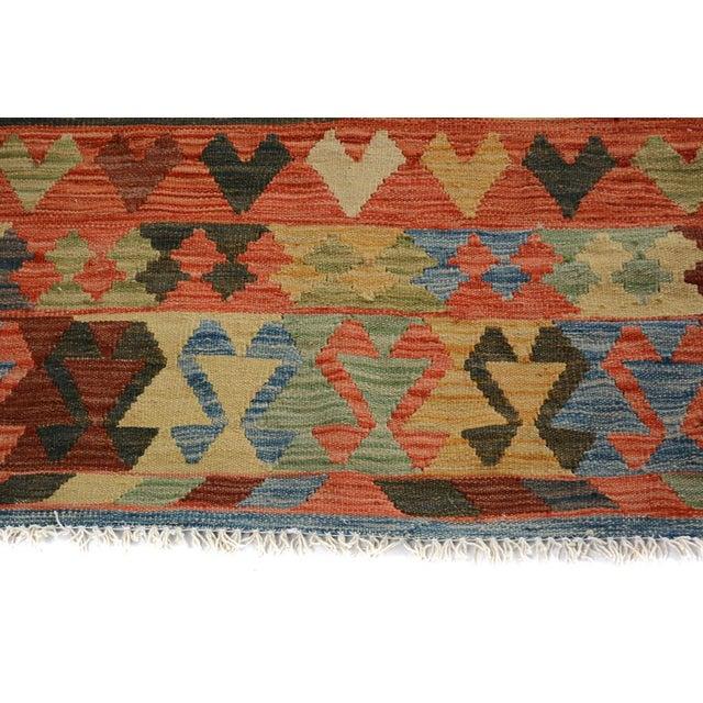 Arya Carmen Blue/Gold Wool Kilim Rug - 4'11 X 6'8 For Sale - Image 5 of 7