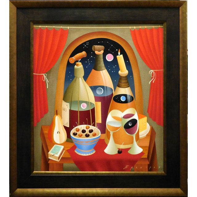 "Paint Anton Arkhipov ""Drink Wine"" Original Oil Painting on Canvas For Sale - Image 7 of 7"