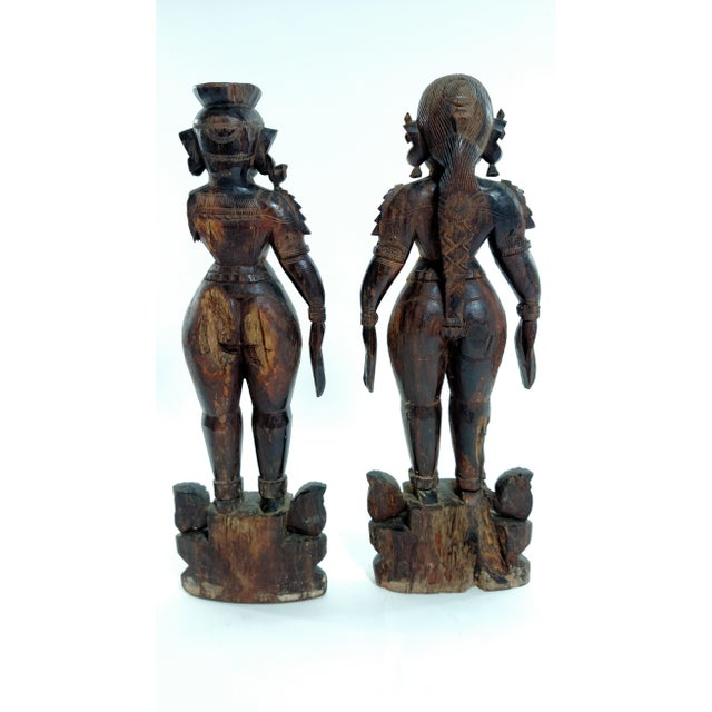 Antique Carved Indian Figures - A Pair - Image 4 of 7