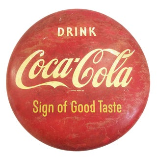 "36"" Coca Cola ""Sign of Good Taste"" Enameled Button Sign, Circa 1953 - 50th Anniversary Sale For Sale"