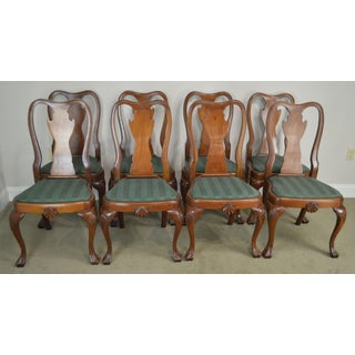 Antique Set of 8 Custom Quality Drake Foot Queen Anne Dining Chairs Preview