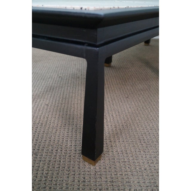James Mont Mid Century Ebonized Marble Top Table For Sale - Image 5 of 10