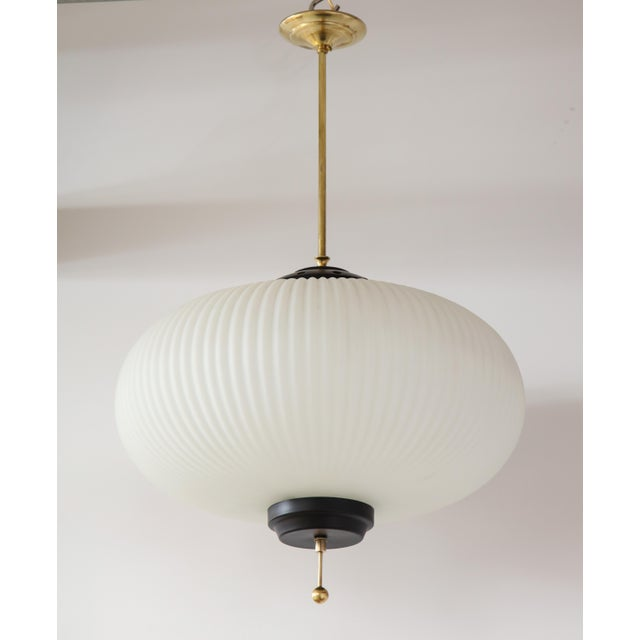Stilnovo Ribbed Milk Glass Globe Lantern For Sale - Image 11 of 13