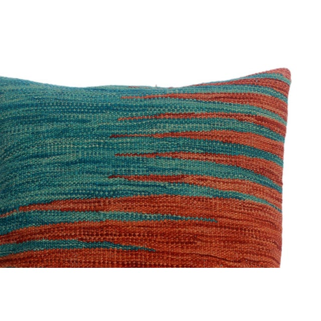 """Despina Rust/Blue Hand-Woven Kilim Throw Pillow(18""""x18"""") For Sale - Image 4 of 6"""