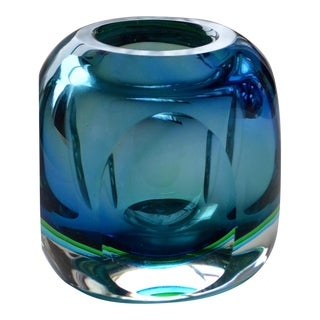 Mandruzzato Faceted Blue and Green Italian Murano Bowl For Sale