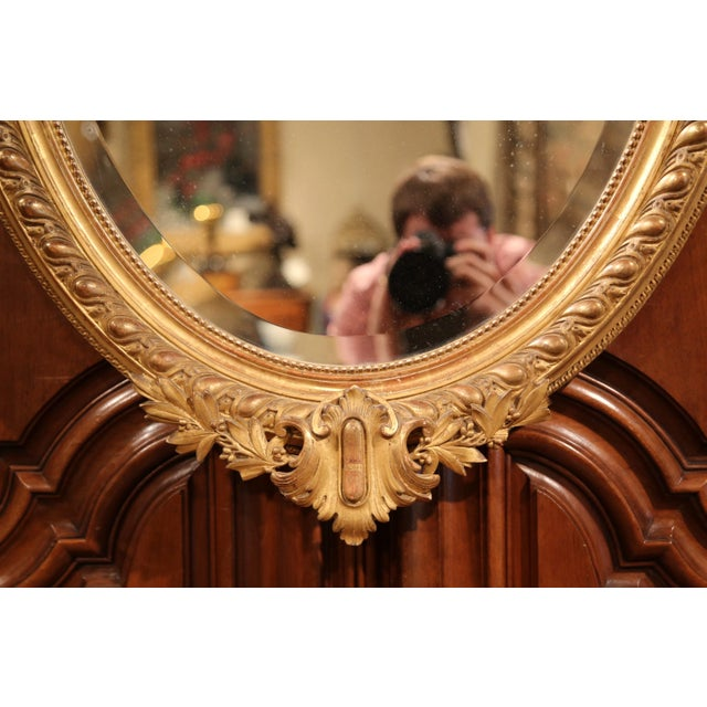 French 19th Century French Louis XV Oval Gold Leaf Beveled Mirror with Carved Shell For Sale - Image 3 of 9