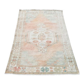 Muted Turkish Hand-Knotted Antique Anatolian Rug- 3′2″ × 6′6″ For Sale