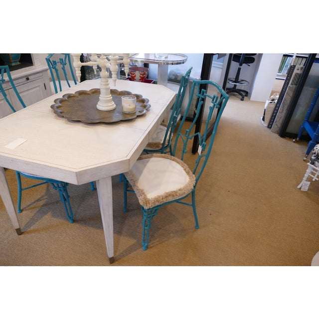 2010s Modern Teal Wrought Iron Outdoor Chair For Sale - Image 5 of 13