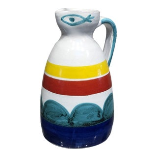 Vintage 1960's Italian Giovanni De Simone Pottery Pitcher With Geometric and Eye Design For Sale