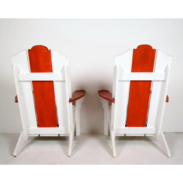 1970's White & Red Wood Pool Lounge Chairs - Pair - Image 8 of 8