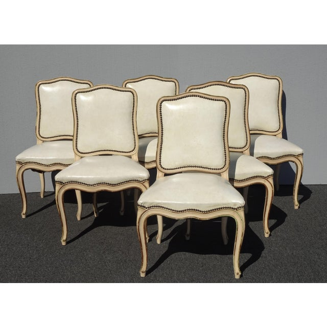 Six Vintage French Provincial Off White Leather Dining Room Chairs by  Thomasville
