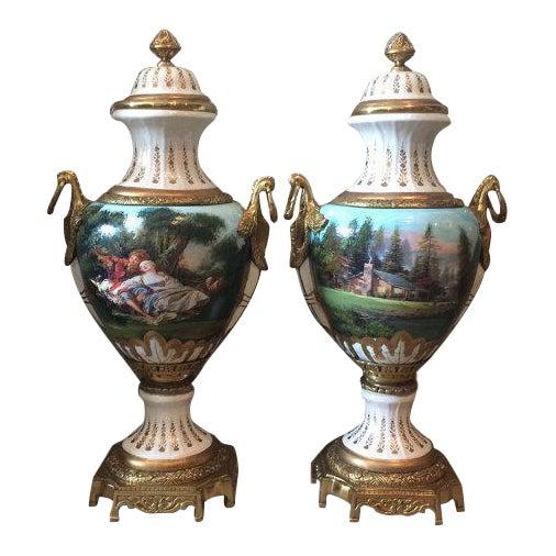French Louis XVI Porcelain Vases - a Pair For Sale
