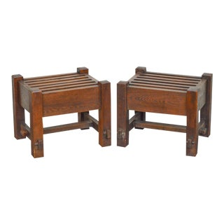 Mission Oak Antique Stickley Era Slatted Stools - A Pair For Sale