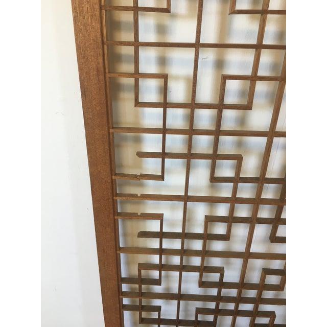 Mid-Century Teak 4 Panel Screen For Sale - Image 9 of 10