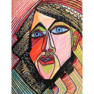 Michael DI Cosola Colorful Surrealist Portrait of a Man in Pastel Mid-Late 20th Century For Sale