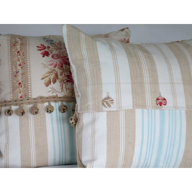 19th Century French Floral & Linen Ticking Stripe Pillows With Pom-Poms - a Pair For Sale - Image 6 of 7