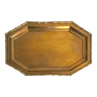 1970s Indian Faux Bamboo Brass Tray For Sale