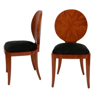 "Rare Karl Springer ""Sunburst"" Side Chairs in Mahogany, Circa 1980s"