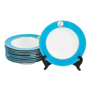 Minton China Turquoise Rim Bowls - Set of 10