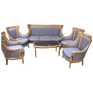 Sofa and Chair Set With Marble Top Coffee Table - 6 Piece Set For Sale