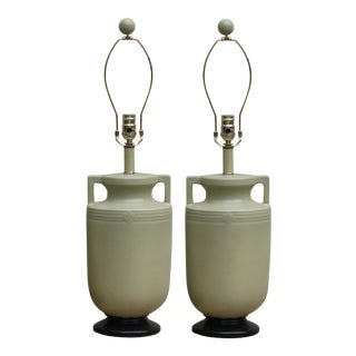 Sage Green Amphora Table Lamps - A Pair