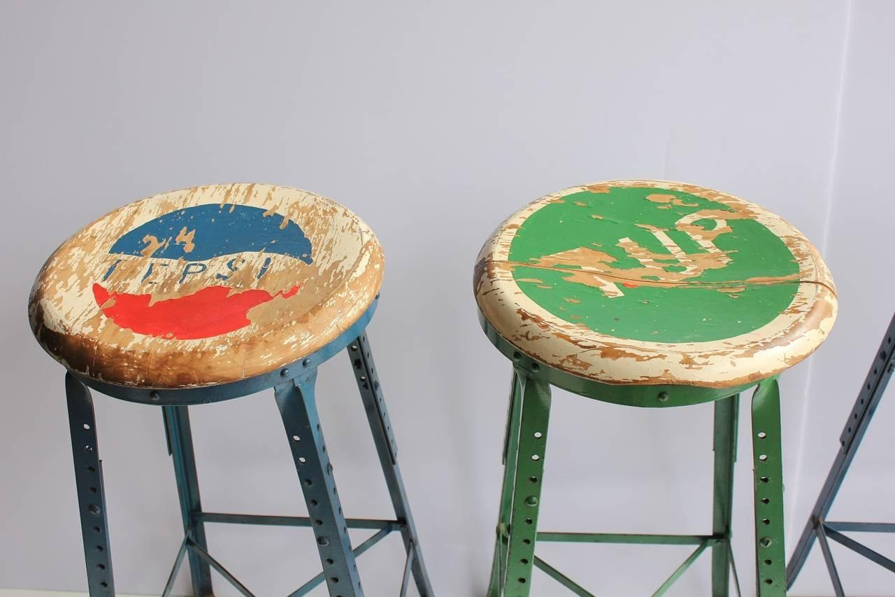 Vintage Folk Art Advertising Pepsi Amp 7up Stools Set Of 4