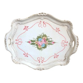Florentine Hand Painted Floral Tray For Sale
