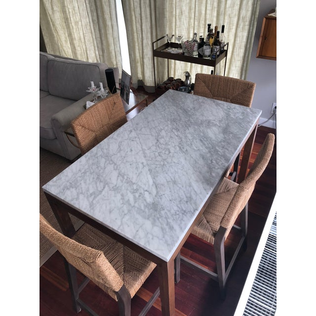 Carrara Marble Parsons White Marble Top/ Elm Base Dining Table For Sale - Image 7 of 8