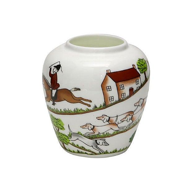 "Crown Staffordshire English ""Hunting Scene"" vase. Maker's mark on underside. Light wear."