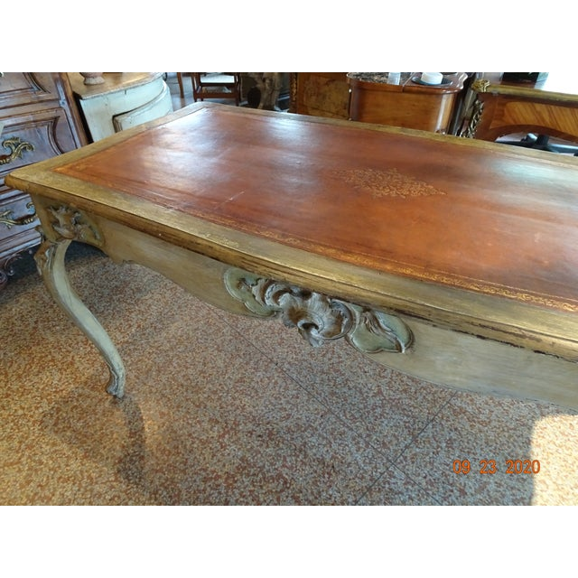 19th Century French Writing Desk With Leather Top For Sale - Image 11 of 13
