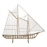 Image of Vintage Curtis Jere Brass Skeleton Sailboat Sculpture For Sale